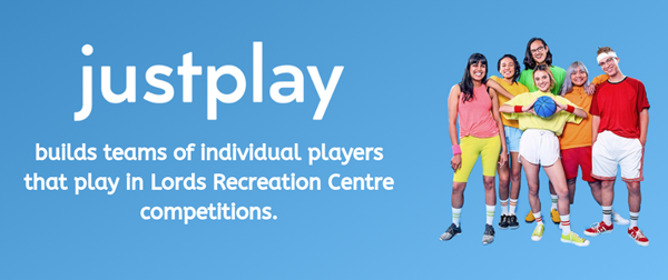 Just play and Lords Recreation Centre pink Background